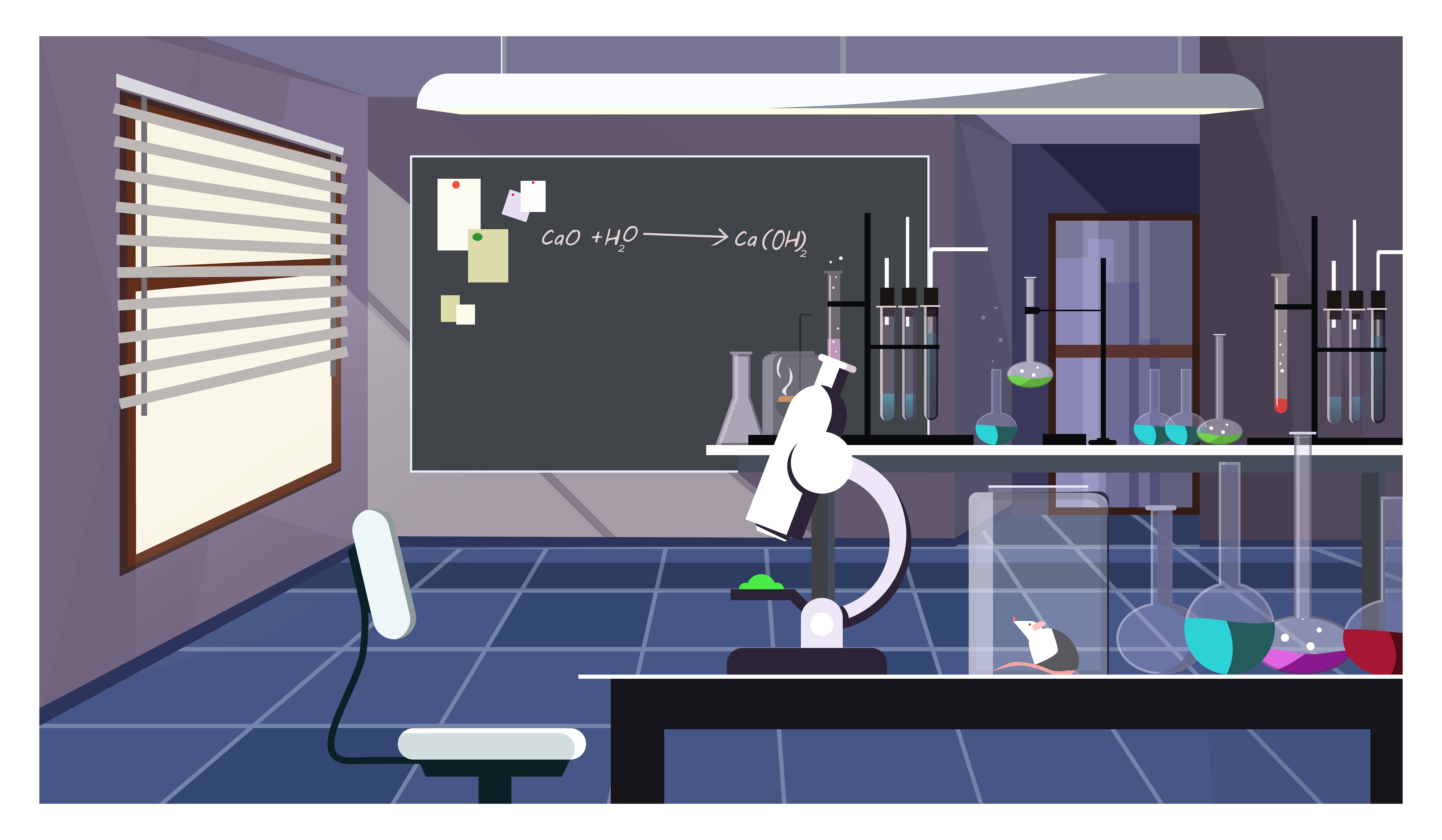 Dark laboratory room with glassware on table vector illustration